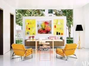 COLORFUL YELLOW BROWN AND GREEN VIEWS FOR SMALL HOME OFFICE DESIGN IDEAS