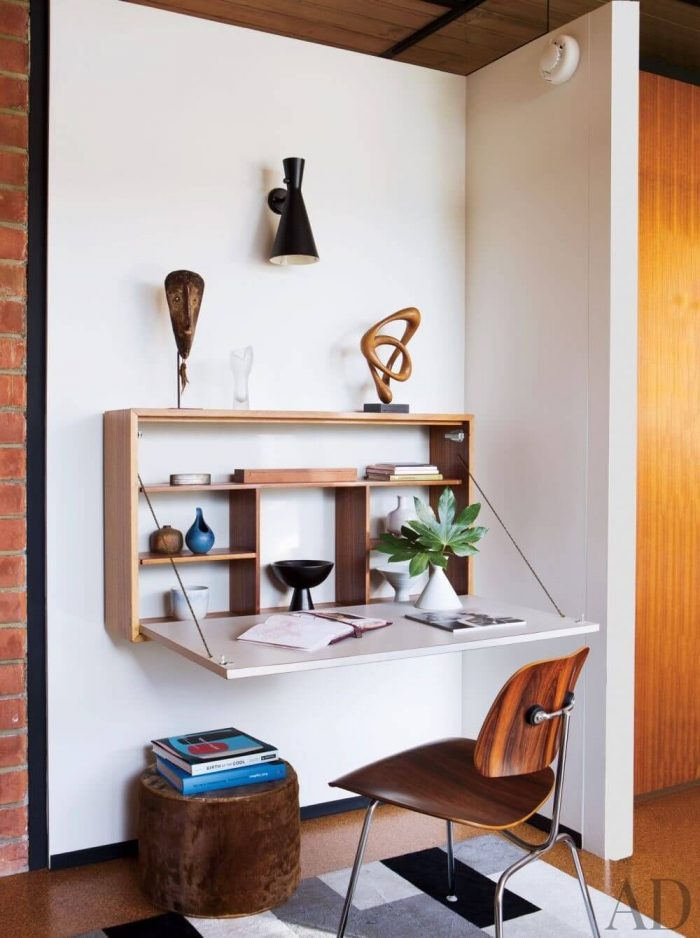 MODERN SMALL HOME OFFICE DESIGN IDEAS WITH FOLDABLE DESK AND CHAIR