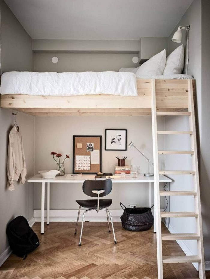 BEDROOM SMALL HOME OFFICE WITH LOFTING BED