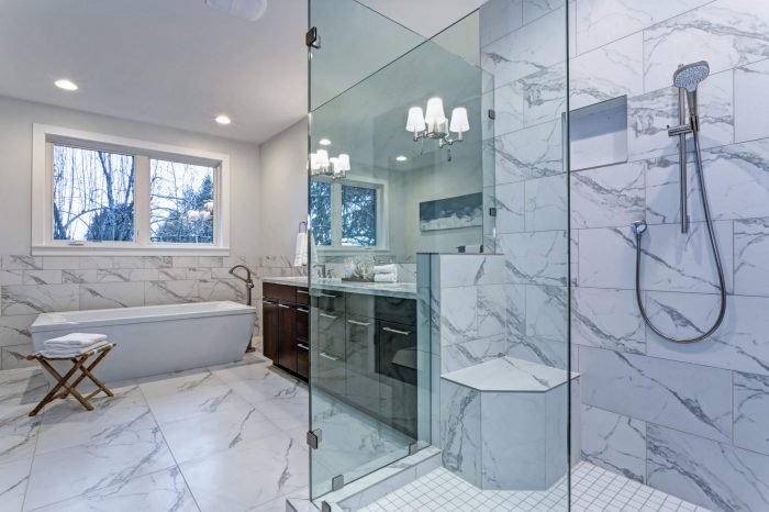 FRAMELESS GLASS PANELS FOR SMALL BATHROOM IDEAS WITH BATHTUB AND SHOWER