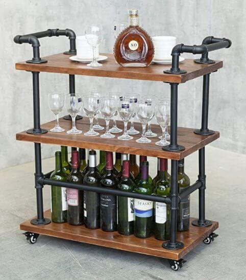 INDUSTRIAL MINI BAR CART WITH OPEN STORAGE DESIGN FOR SMALL HOME