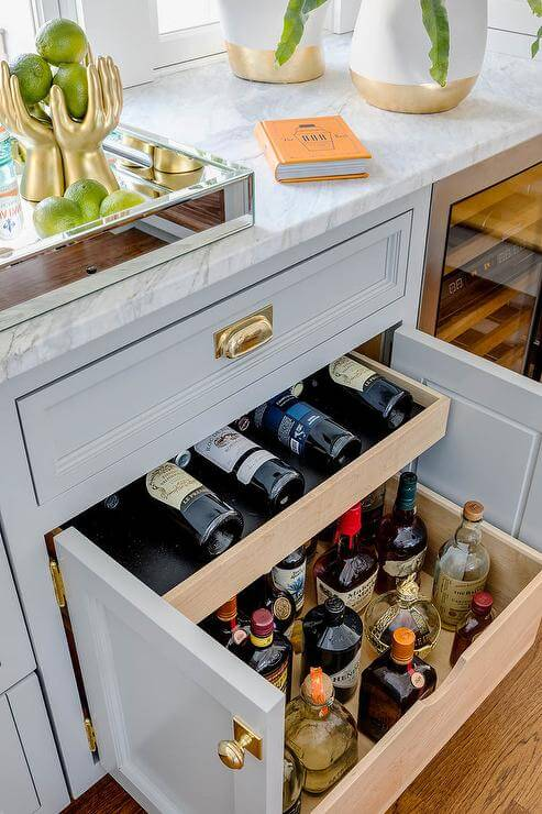 MINI BAR IN THE DRAWER DESIGN FOR SMALL HOME
