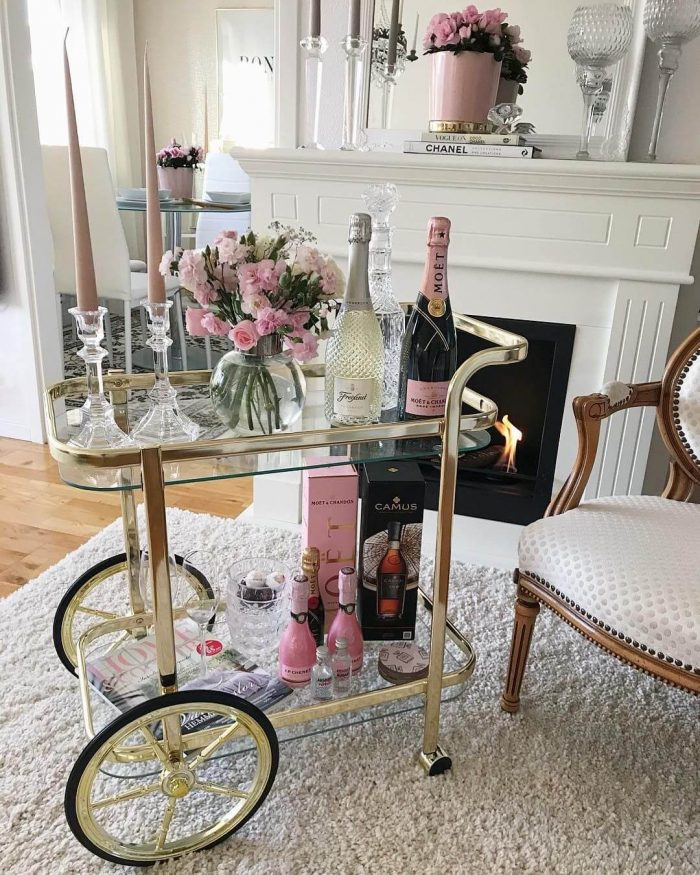 MINI BRASS BAR CART WITH BIG WHEELS DESIGN FOR SMALL HOME