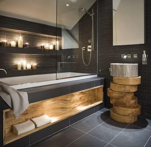 PLACE ITEMS VERTICALLY IN SMALL BATHROOM IDEAS WITH BATHTUB AND SHOWER
