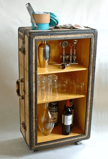 VINTAGE MINI ROLLING BAR CART DESIGN FOR SMALL HOME