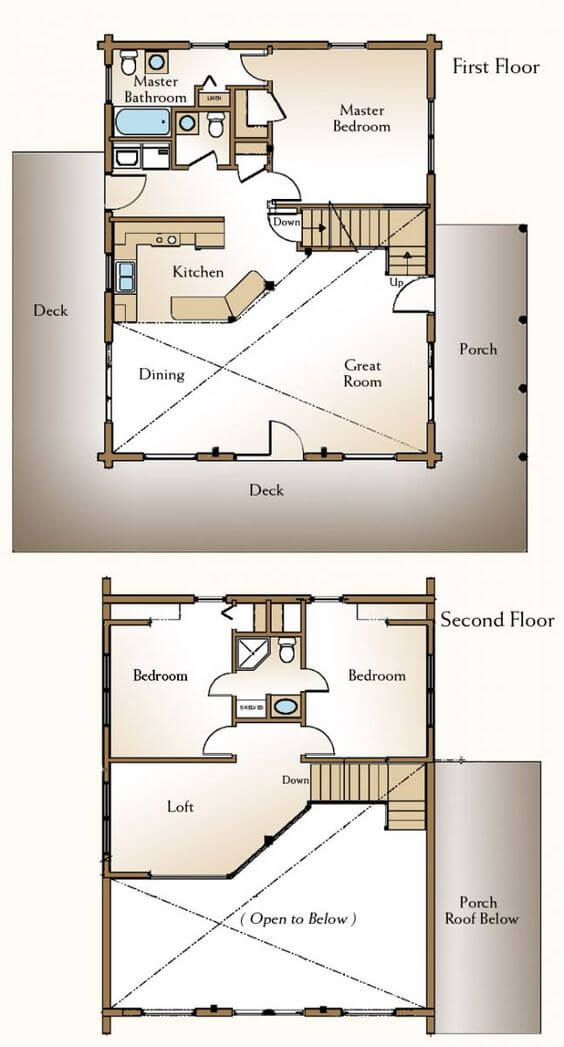 3 BEDROOMS SMALL HOUSE PLANS WITH LOFT AND WRAP AROUND PORCH