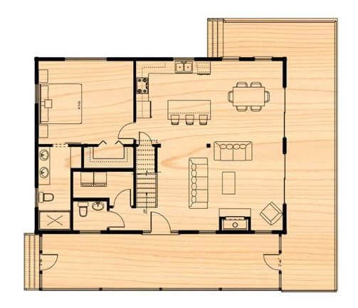 ASPEN LOG SMALL HOUSE PLANS WITH LOFT AND WRAP AROUND PORCH