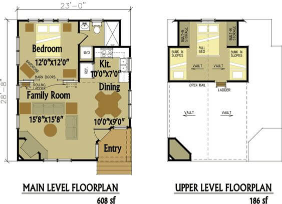 CABIN STYLE SMALL HOUSE PLANS WITH LOFT AND WRAP AROUND PORCH