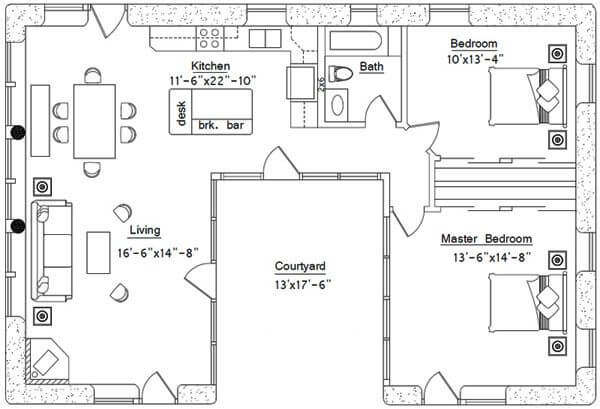 FACING THE COURTYARD SMALL C SHAPED HOUSE PLANS
