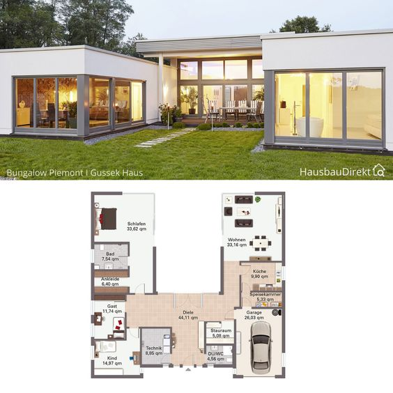 MODERN AND OPEN SMALL C SHAPED HOUSE PLANS