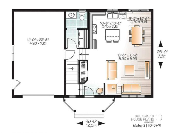 NO BEDROOM DOWNSTAIRS SMALL HOUSE BIG GARAGE PLANS