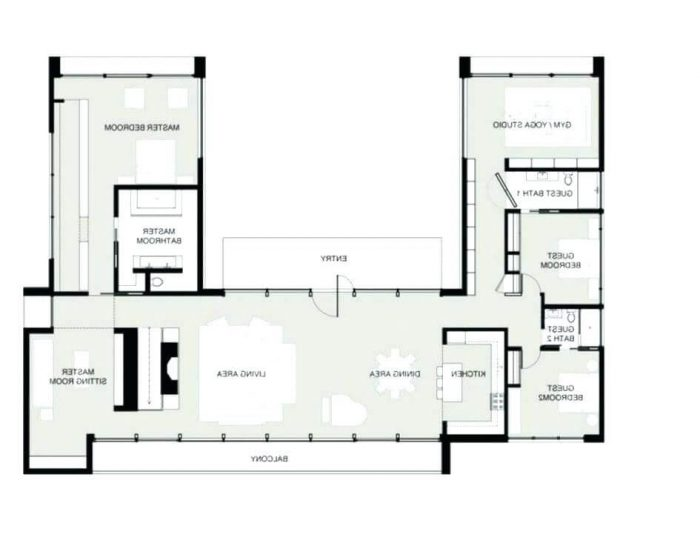 SMALL C SHAPED HOUSE PLANS WITH YOGA STUDIO