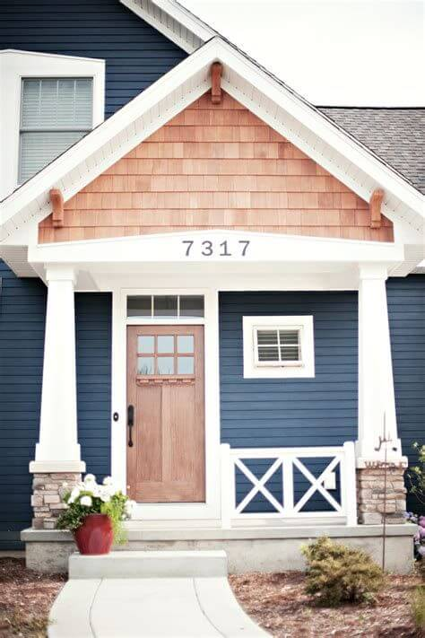 SMALL HOUSE EXTERIOR COLORS COLONIAL BLUE AND WHITE