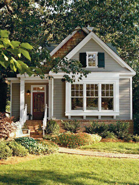 SMALL HOUSE EXTERIOR COLORS SOFT GREY WITH WHITE ON BRICK