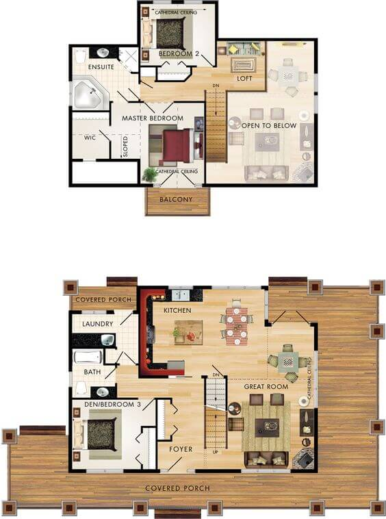 SMALL HOUSE PLANS WITH 3 BEDROOM IN LOFT AND WRAP AROUND PORCH