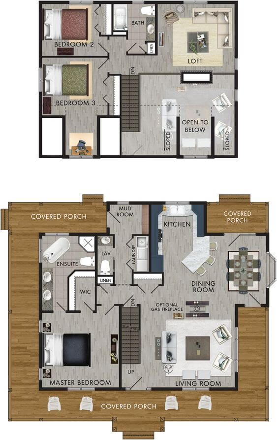 SMALL HOUSE PLANS WITH LOFT AND WRAP AROUND PORCH AND FULL SIZE KITCHEN