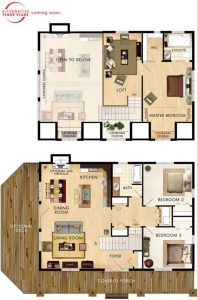 SMALL HOUSE PLANS WITH LOFT AND WRAP AROUND PORCH FOR FEELING LIKE RECREATION