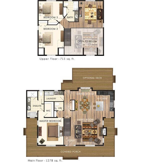 SMALL HOUSE PLANS WITH LOFT DECK AND WRAP AROUND PORCH