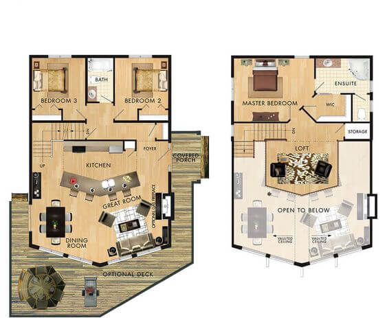 THE CATHEDRAL SMALL HOUSE PLANS WITH LOFT AND WRAP AROUND PORCH